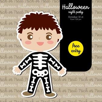 Convite para festa de halloween com menino em traje de esqueleto