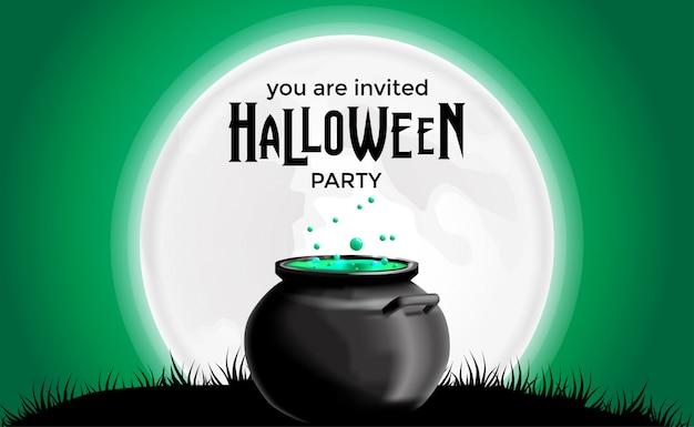 Convite para festa de halloween com poção no pote Vetor Premium