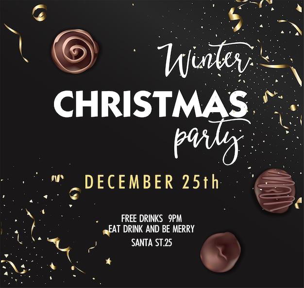 Convite para festa de natal, banner de decoração com bombons de chocolate, inscrições caligráficas e enfeites de ouro voando