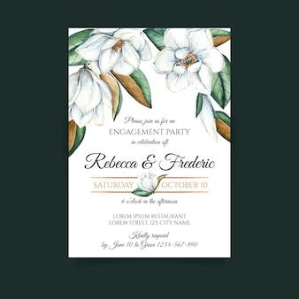 Convite para festa de noivado floral