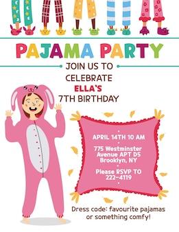 Convite para festa de pijama infantil coelho kigurumi