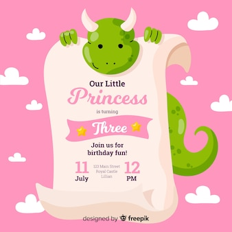 Convite para festa de princesa plana