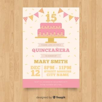 Convite para festa de quinceañera com bolo