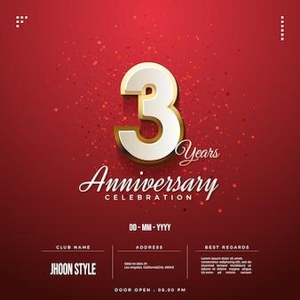 Convite para festa de terceiro aniversário com borda dourada