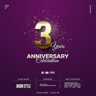 Convite para festa de terceiro aniversário com caracteres numéricos dourados
