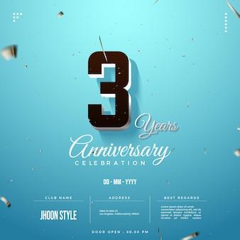 Convite para festa de terceiro aniversário com forro de prata nos números