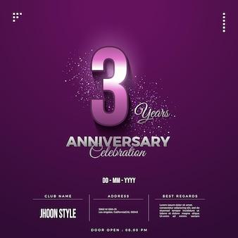 Convite para festa de terceiro aniversário com números brilhantes