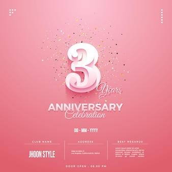 Convite para festa de terceiro aniversário com números de balão