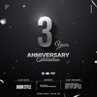 Convite para festa de terceiro aniversário com números de prata brilhantes