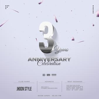 Convite para festa de terceiro aniversário com números de vidro