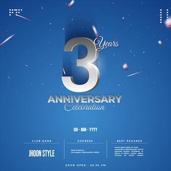 Convite para festa de terceiro aniversário com números prateados em relevo