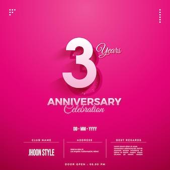 Convite para festa de terceiro aniversário com os mesmos dois caracteres numéricos