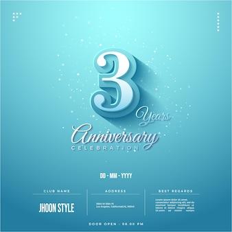Convite para festa de terceiro aniversário completo com data e local