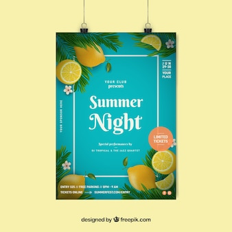 Convite para festa de verão com limões em estilo realista