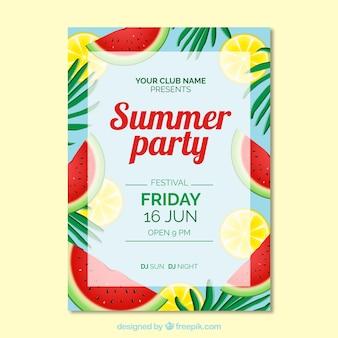 Convite para festa de verão com melancia e limão
