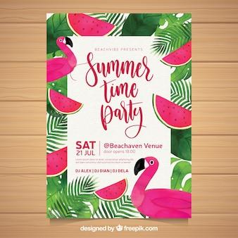 Convite para festa de verão com melancias e flamingos