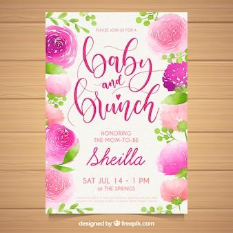Convite para festa do bebé em estilo aquarela