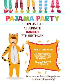 Convite para festa do pijama infantil tigre kigurumi