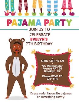 Convite para festa do pijama infantil urso kigurumi