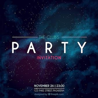 Convite para festa, estilo galáctico