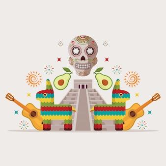 Convite para festa estilo mexicano evento de entretenimento símbolos da cultura do méxico