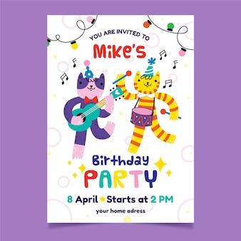Convite para festa infantil e animais dançando