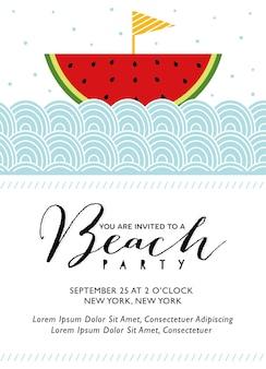 Convite para festa na praia com barco melancia em vetor