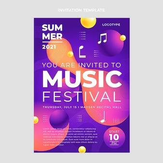 Convite para festival de música colorida gradiente