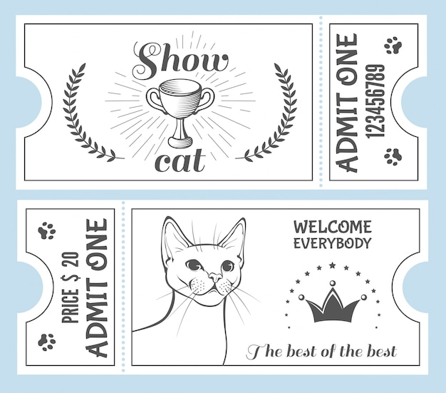 Convite para ingresso no show de gatos.