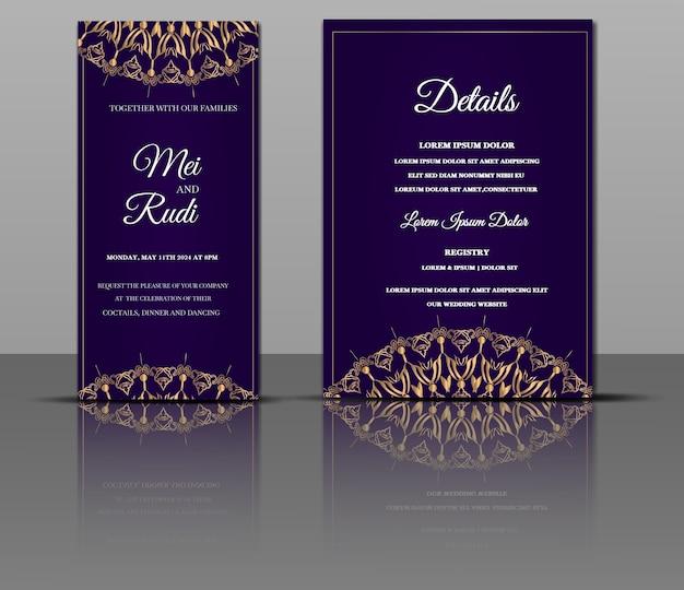 Convite para mandala de casamento de luxo