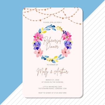 Convite para o jantar de ensaio com aquarela guirlanda floral