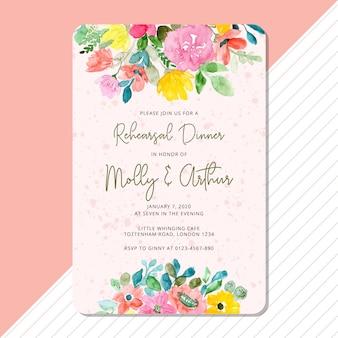 Convite para o jantar de ensaio com moldura de aquarela floral