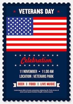 Convite para pôster do dia dos veteranos dos eua