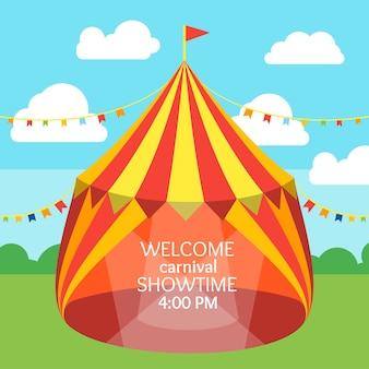 Convite para tenda de circo em design plano