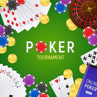 Convite para torneio on-line do clube de pôquer com fundo verde moldura realista com cartas
