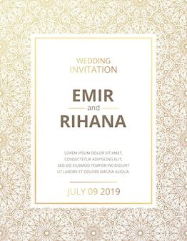 Convite para um casamento muçulmano. padrão de ouro. ilustração vetorial. vetor de modelo.