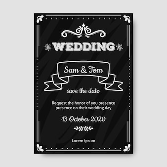 Convite retrô de casamento modelo