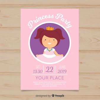 Convite simples da princesa do aniversário