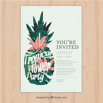 Convite tropical bonito do partido do vintage com abacaxi