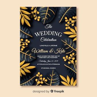 Convite tropical do casamento das folhas douradas