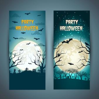 Convite vertical para festa de halloween com árvores de animais no cemitério noturno na lua enorme