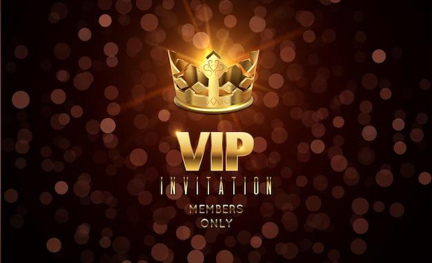 Convite vip com tipografia dourada
