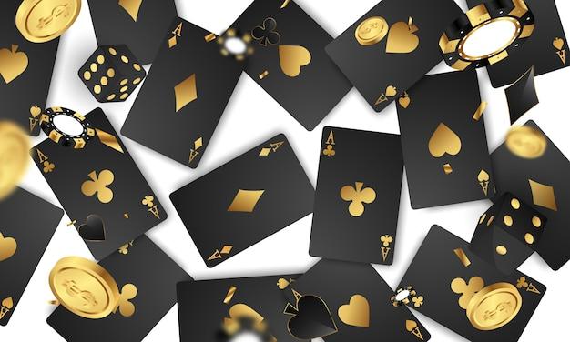 Convite vip de luxo de cassino com fundo de jogo de festa de confete.