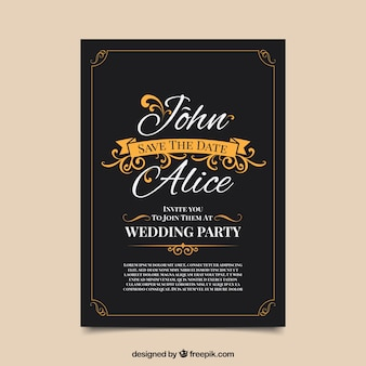 Convite weding vintage com estilo elegante