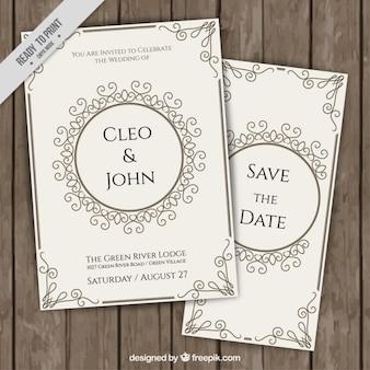 Convites bonitos do casamento no estilo do vintage