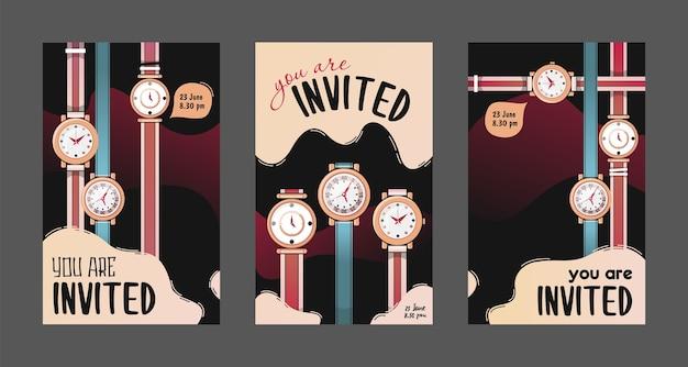 Convites criativos com ilustração vetorial de relógios.