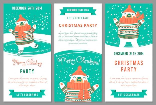 Convites da festa de natal no estilo dos desenhos animados.
