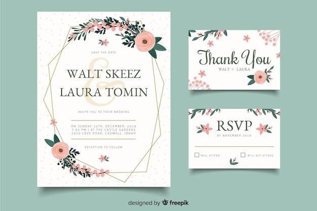 Convites de cartão de casamento de celebração