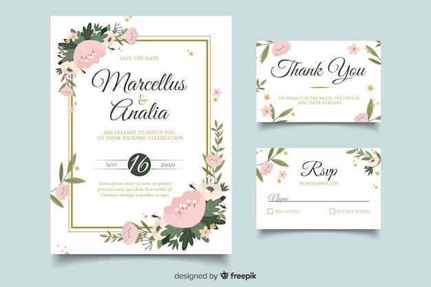 Convites de cartão de casamento fofo com design plano