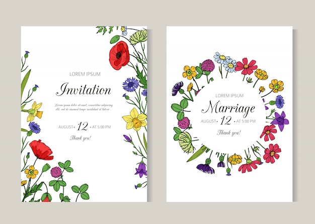 Convites de casamento. cartão com flores do prado selvagem de verão. modelo de panfleto de desenho retrô floral primavera